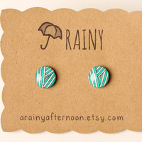 Teal and White Striped Post Earrings