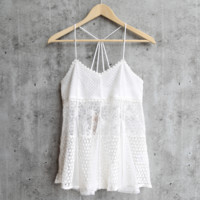 blissful ivory sheer lace tank
