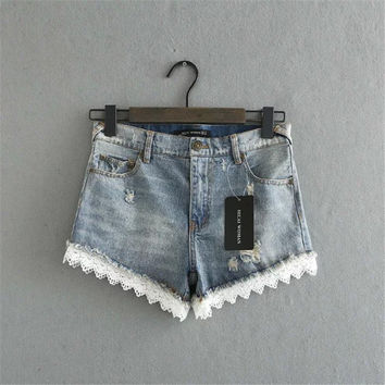 Summer Women's Fashion Pants Lace Mosaic Ripped Holes Denim Shorts [6034179649]