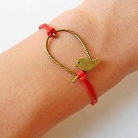 Adjustable bird wrist bracelet ropes bracelet women bracelet girl bracelet made of bronze bird and red ropes cuff wrist cuff SH-02061