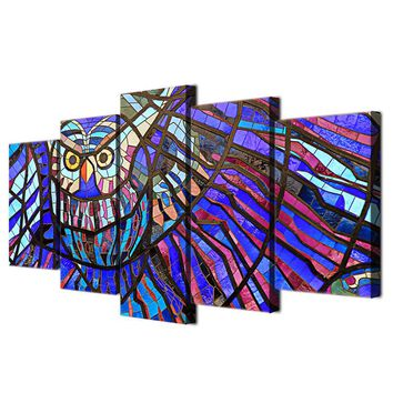Abstract Owl Stained Glass Wall Art Panel Canvas Print Poster Framed UNframed