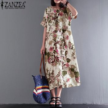 S 5XL ZANZEA Women 2018 Summer Casual Boho Long Dress Vintage Crew Neck Short Sleeve Floral Printed Cotton Linen Loose Vestido