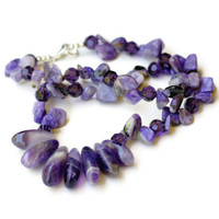Short Chunky Purple Lavender Statement Necklace /Rare Natural Semiprecious Stones Charoite Amethyst/ Dramatic Gemstone Necklace/ OOAK Unique