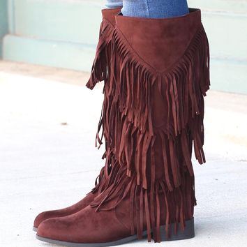 City Girl Layered Fringe Riding Boots {Brown}