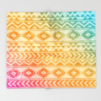 Aztec Pattern 02 Throw Blanket by Aloke Design
