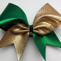 Green and gold sparkly cheer bow.