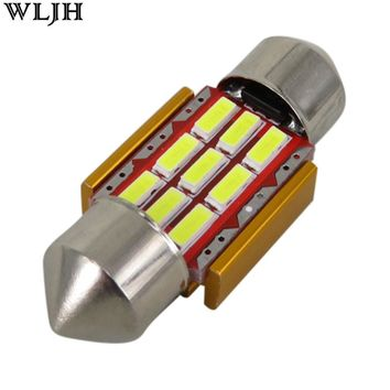 WLJH 1x 31mm Festoon Led For Samsung Chip 4014 SMD Car Interior Light Registration Number Lamp Auto Lighting Bulb White Canbus