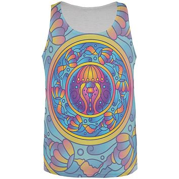 Mandala Trippy Stained Glass Jellyfish All Over Mens Tank Top