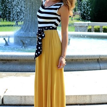 Puttin On The Ritz Mustard Maxi Dress