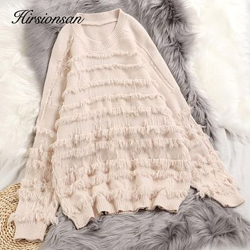 Hirsionsan Sweater Women 2019 Autumn Winter Knitted Punk Kawaii Pullovers Female Clothes Korean Tassel Casual Soft Loose Jumpers