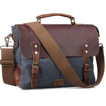 TIDING Men Canvas Tote Bags Affordable Leather Hobo Crossbody Bag For School 11435