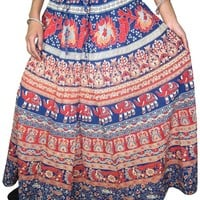 Printed Womens Indian Long Skirts Summer Ankle Length Bohemian Maxi Skirt