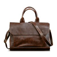man Leather solid brown Vintage simple Handmade laptop briefcase business computer top handle messenger Shoulder bags handbags