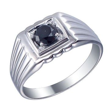 0.71 Carats Sterling Silver Men's Black Diamond Engagement Ring (3/4 CT)