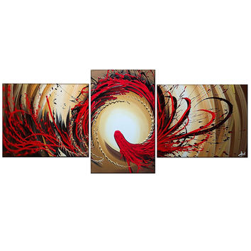 Red Zone Abstract Canvas Wall Art Oil Painting