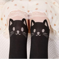 Cat Tail Gipsy Mock Knee High Hosiery Tattoo Legging Tights Stockings OR Tattoo Mock Bow Suspender Sheer Stockings