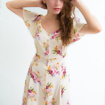 80s Vintage Betsey Johnson Floral Dress
