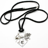 Black Suede Lady Luck Amulet Charm Necklace