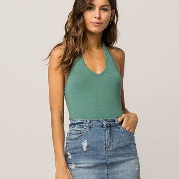 BOZZOLO Crop Green Womens Halter Top