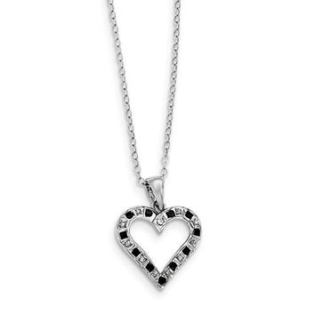 Sterling Silver Black & White Diamond Heart Necklace