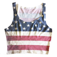 American Flag Crop Top Tank, USA Crop Top Tank, Stars and Stripes Tank Top, 4th of July Tank Top, Red White and Blue Tank Top
