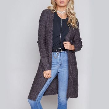 minkpink - looped out longline open front knit cardigan - charcoal