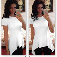 Short Sleeves Scoop Pure Color Casual Falbala Drop Irregular Blouse