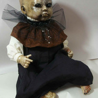 "One of A Kind Altered Art  Creepy Zombie Baby Doll ""Oh Brother "" Freaky Awful Scary Haunted Weird L.Cerrito Salvage Artist Doll"