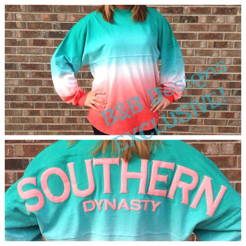 Preppy, Trendy, Cute, Spirit Jersey Tee. Southern Dynasty.  Unisex Fit.  Comfy and Cozy.  Teal, White, Coral Blend Color.