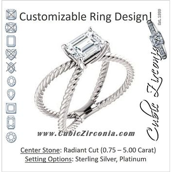 "Cubic Zirconia Engagement Ring- The Zaylee (Customizable Radiant Cut Solitaire with Wide Rope-Braiding ""X"" Split Band)"