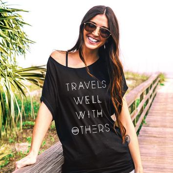 Travels Well With Others Bohemian - Off The Shoulder Slouchy T-shirt