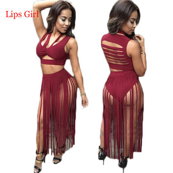 Women Two Piece Outfits 2016 New Style Summer 2 Piece Bandage Dress Sexy Tassel Club Wear Bodycon Party Dresses