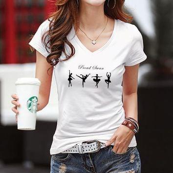 Women Casual Simple Fashion V-Neck Ballerina Girl Print Bodycon Short Sleeve T-shirt Top Tee-1