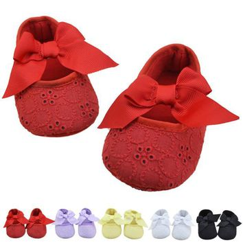 Spring Soft Sole Girl Baby Shoes Cotton First Walkers Fashion Ribbon Bowknot Soft Bottom Flower First Sole Kids Shoes