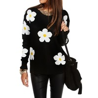 Pre-Order: Black/White Daisy Sweater