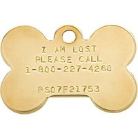 Pet Tags Lost Pet Recovery System - Brass Bone