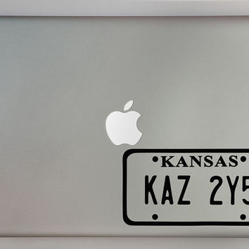Supernatural Inspired Kansas License Plate Macbook Laptop Decal