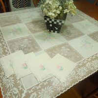 Vintage Ivory Lace Embroidered Tablecloth with matching napkins for housewares, home decor by MarlenesAttic