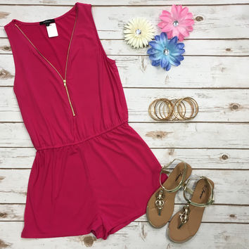 Zip Me Up Romper: Pink