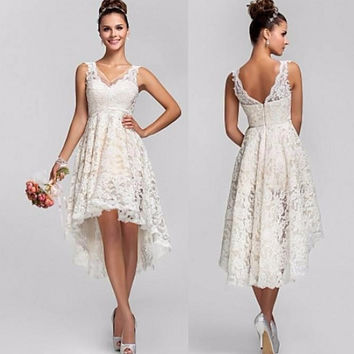 Simple 2016 Ivory Lace High Low Wedding Dresses Short Front Long Back V Neck Backless Cheap Bride Bridal Gown Vestido De Noiva