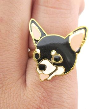 Chihuahua Puppy Face Shaped Adjustable Animal Ring in Black | Limited Edition Jewelry