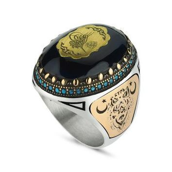 Amber gemstone with ottoman sultan sign sterling silver mens ring