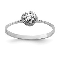 Sterling Silver CZ Center Round Love Knot Ring