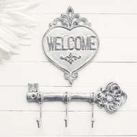 Christmas Gift / Cast Iron Key Hook / Welcome Sign / Skeleton Key / Wall Key Holder / Key Rack / Shabby Chic Wall Hook / Housewarming Gift