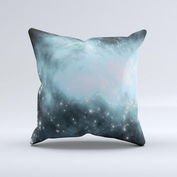 Bright Blue Vivid Galaxy Ink-Fuzed Decorative Throw Pillow