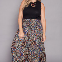 Plus Size Woven Maxi Skirt - Printed