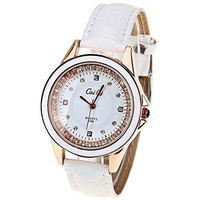 Caiqi Womens Dress White and Gold w/ Rhinestone Watch with White Leather Bands