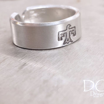 Thunderbird Ring - Hand Stamped Ring - Southwestern Ring - Handstamped Jewelry - Initial Ring - Native American - Bird Ring - Bird Jewelry