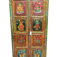 Antique Armoire India Reverse Painted Bedroom Furniture Clothing Storage Cabinet
