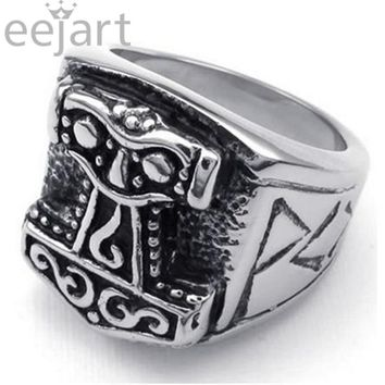 eejart Cool Men's Jewelry Viking Hammer of Thor Ring